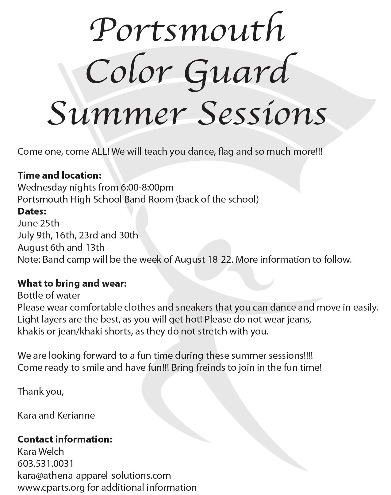 COLOR GUARD SUMMER SESSIONS